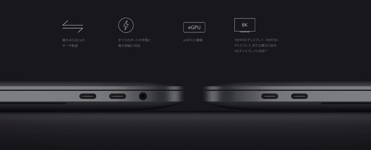 最新のMacbook Proのポートは、左右に4つ