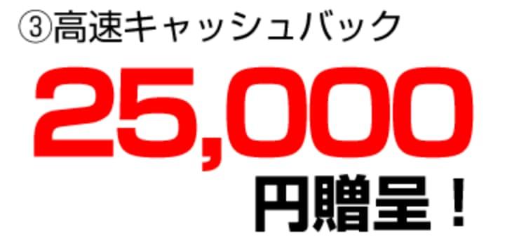 【すぐにもらえる!】25,000円高速キャッシュバック!【サイト限定】