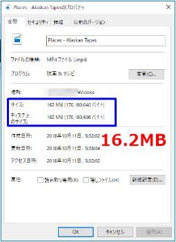 圧縮後のファイルサイズ:16.2GB