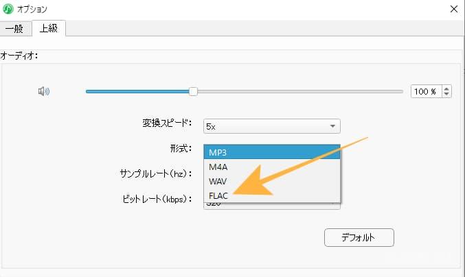 上級タブでは形式やビットレートの変更が可能です。