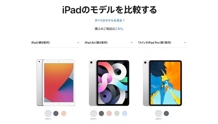 「新iPad(第8世代)」や「iPad Pro(第一世代)」との比較